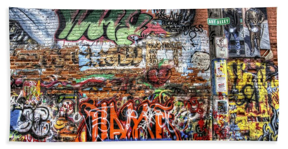 Graffiti Bath Sheet featuring the photograph Art Alley by Anthony Wilkening