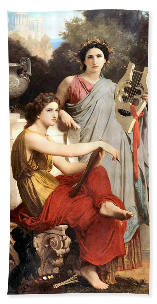 Art And Literature Hand Towel featuring the digital art Art And Literature by William Bouguereau