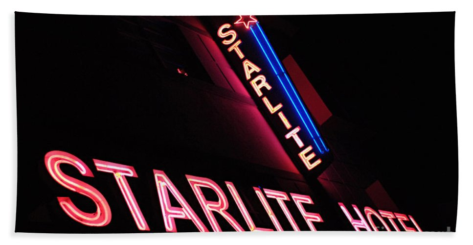 Neon Hand Towel featuring the photograph Starlite Hotel Art Deco District Miami 3 by Bob Christopher