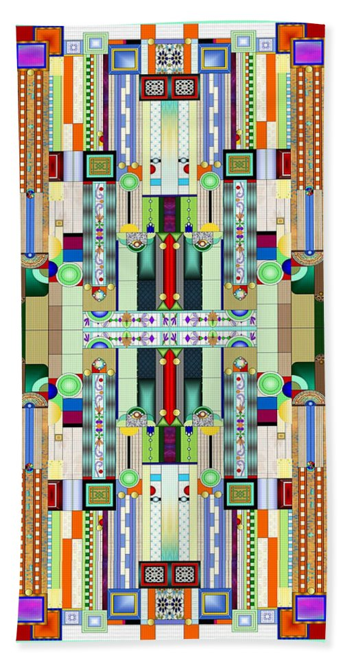 Art Deco Stained Glass Hand Towel featuring the digital art Art Deco Stained Glass 2 by Ellen Henneke