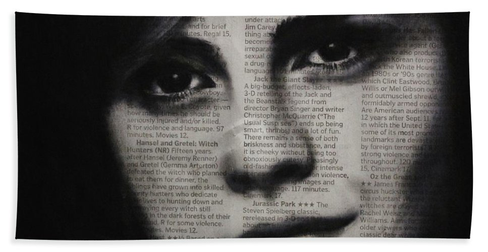 Emma Watson Hand Towel featuring the drawing Art In The News 17-emma Watson by Michael Cross