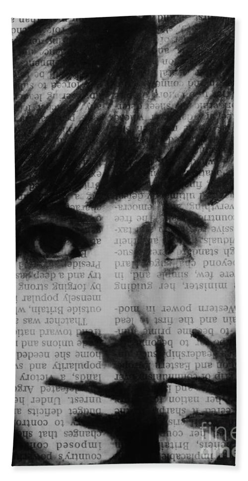 Charcoal Bath Sheet featuring the drawing Art In The News 22 by Michael Cross