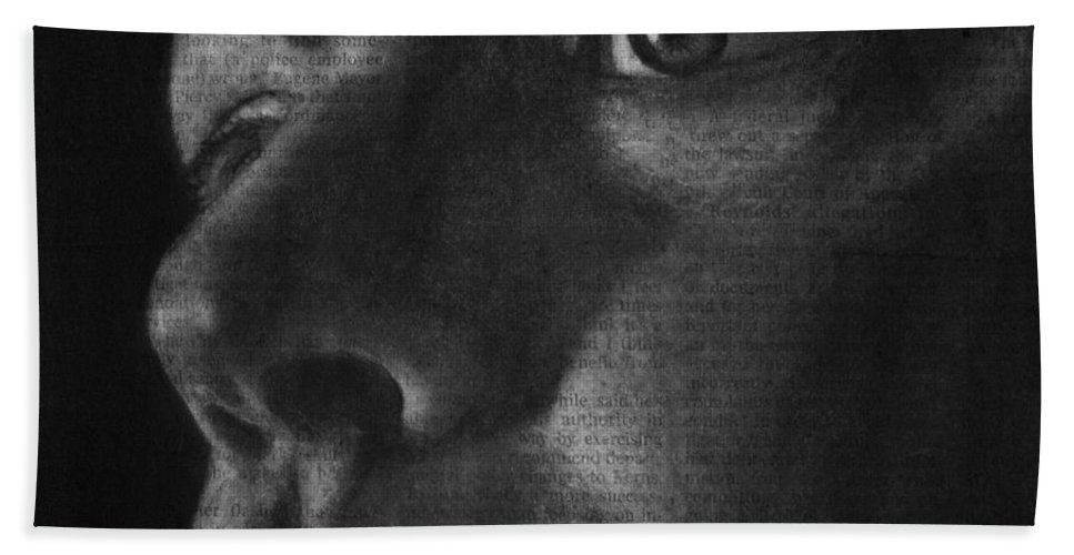 Self Portrait Hand Towel featuring the drawing Art In The News 40-self Portrait by Michael Cross
