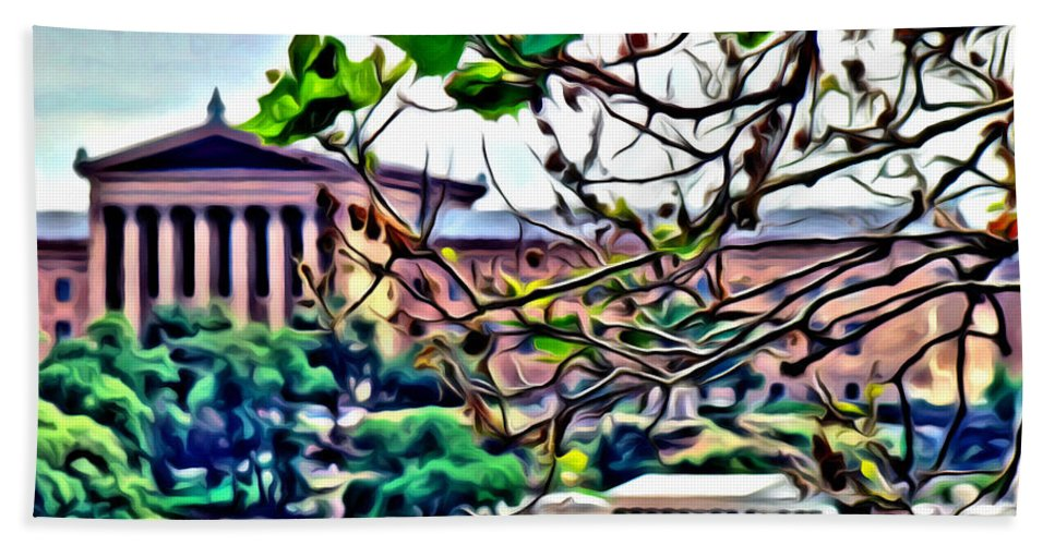 Art Museum Scenic Water Philadelphia Alicegipsonphotographs Bath Sheet featuring the photograph Art Museum Leaves by Alice Gipson