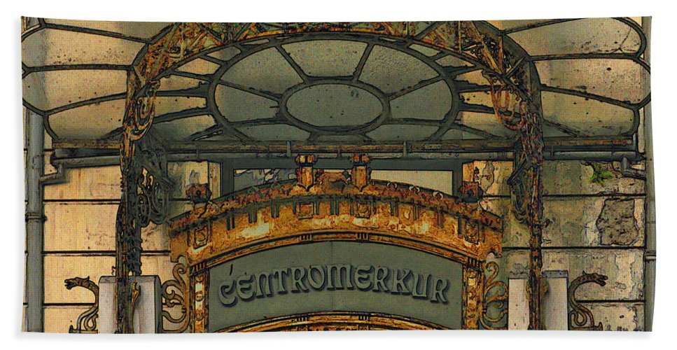 Art Nouveau Hand Towel featuring the digital art Art Nouveau Doorway In Ljubljana by Greg Matchick