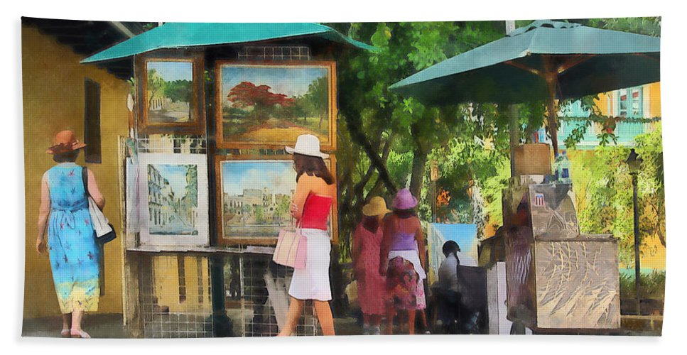 Art Bath Sheet featuring the photograph Art Show In San Juan by Susan Savad