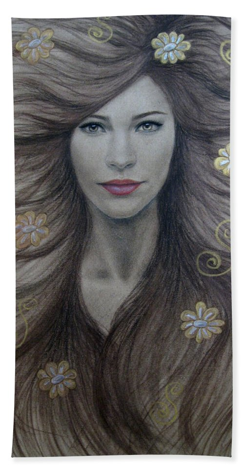 Artemis Bath Towel featuring the painting Artemis by Lynet McDonald