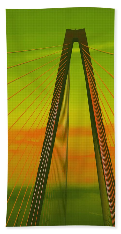 Bridge Bath Sheet featuring the photograph Arthur Ravenel Jr Bridge V by DigiArt Diaries by Vicky B Fuller