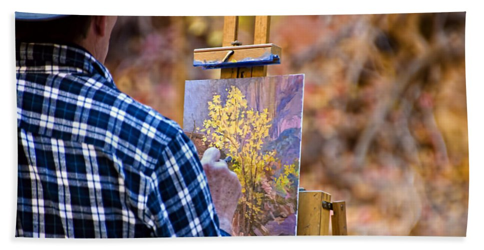 Zion National Park Hand Towel featuring the photograph Artist At Work - Zion by Jon Berghoff