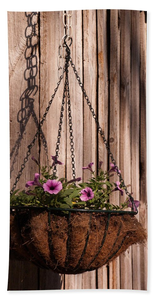 Flowers Hand Towel featuring the photograph Artistic Hanging Basket Of Petunias by John Harmon