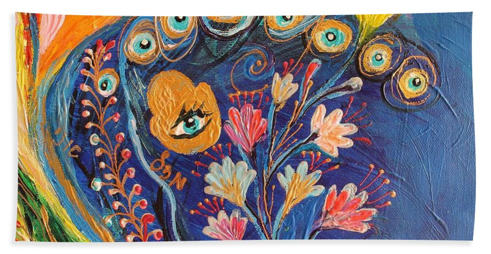 Evil Eye Hand Towel featuring the painting Artwork Fragment 79 by Elena Kotliarker