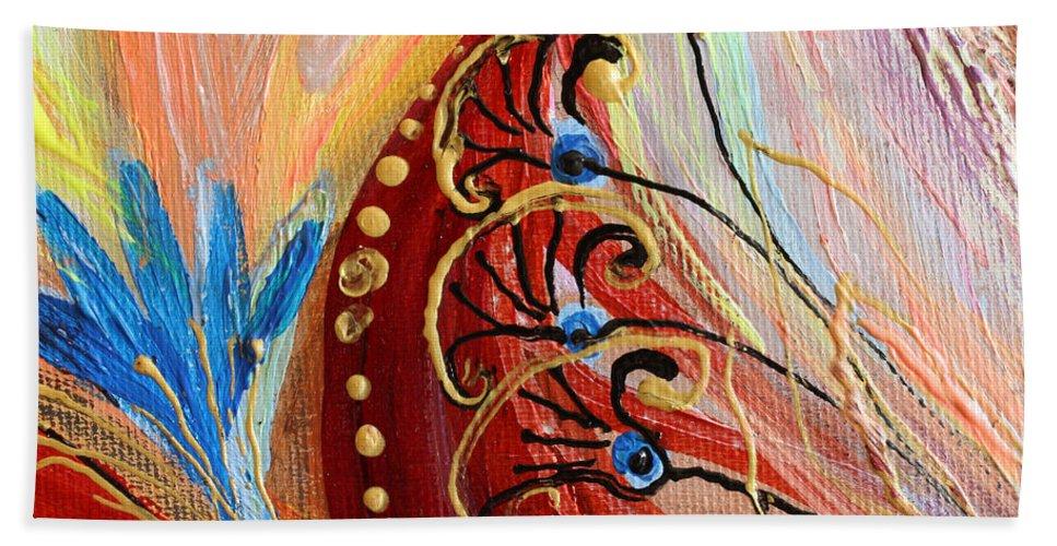 Evil Eye Bath Sheet featuring the painting Artwork Fragment 96 by Elena Kotliarker