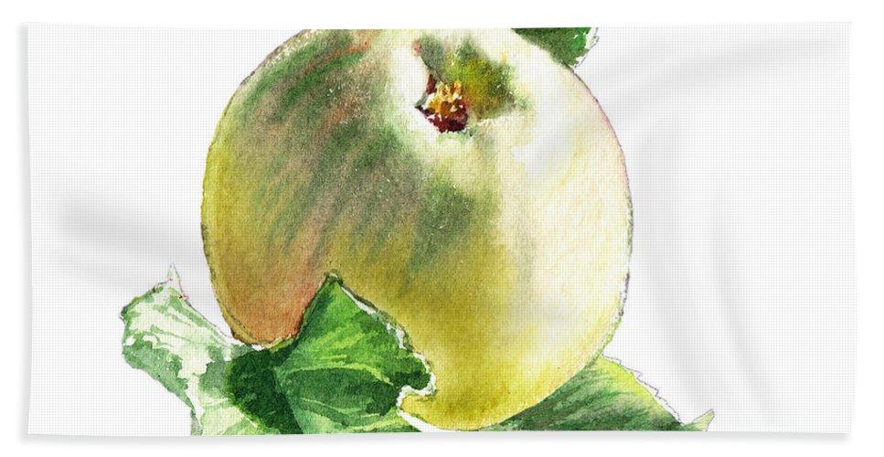 Apple Bath Sheet featuring the painting Artz Vitamins Series A Happy Green Apple by Irina Sztukowski