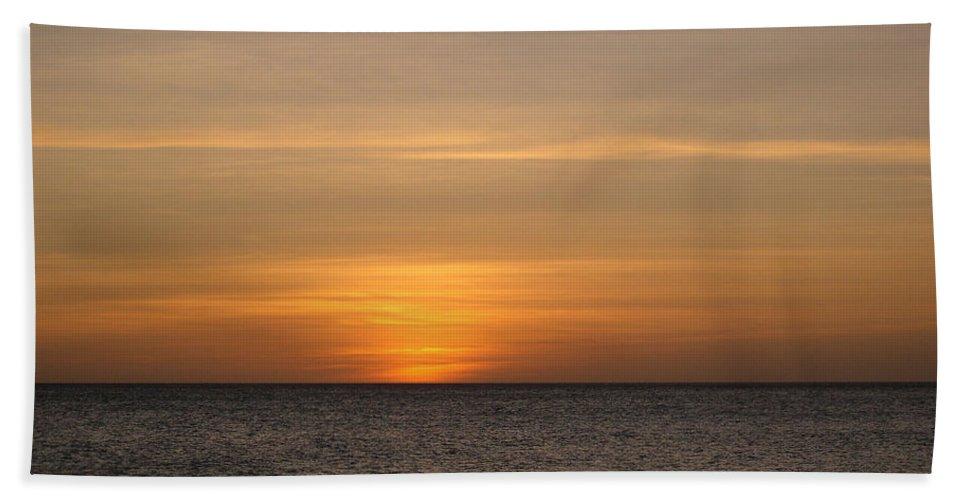 Aruba Hand Towel featuring the photograph Aruban Sunset by WindwardArt Galleries