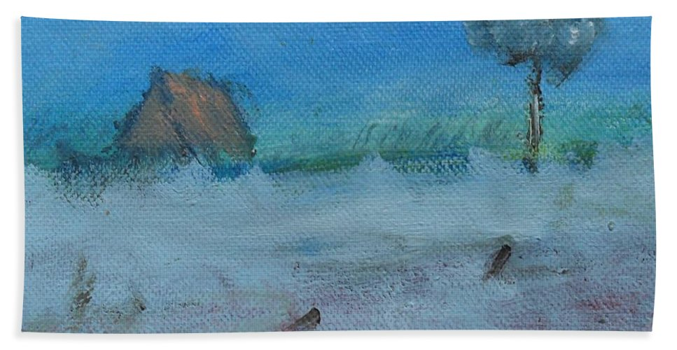 Irish Art Hand Towel featuring the painting As I Drove Past by Mary Feeney