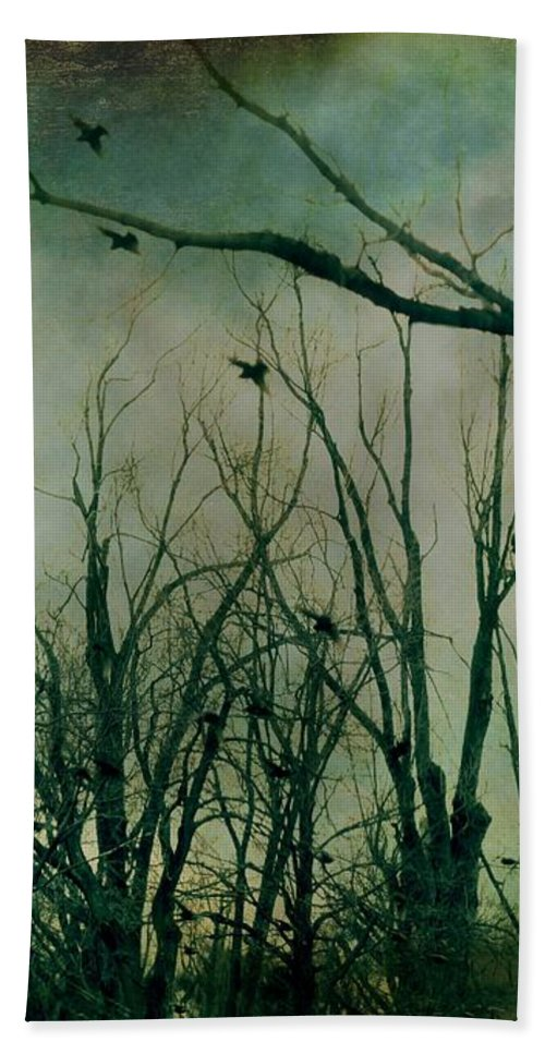 Trees Bath Sheet featuring the mixed media As Night Apaproaches by Gothicrow Images