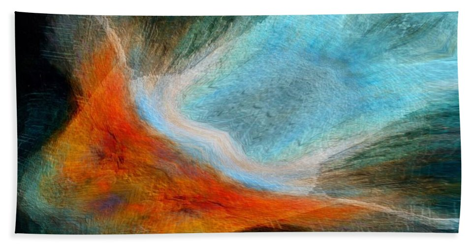 Abstract Bath Sheet featuring the photograph As She Flys by Suzy Norris
