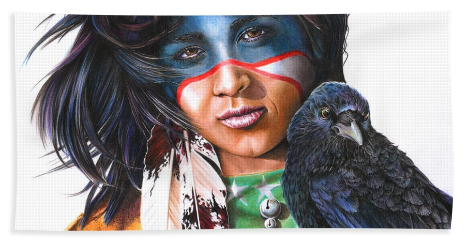 Native Hand Towel featuring the drawing As The Crow Flies by Peter Williams