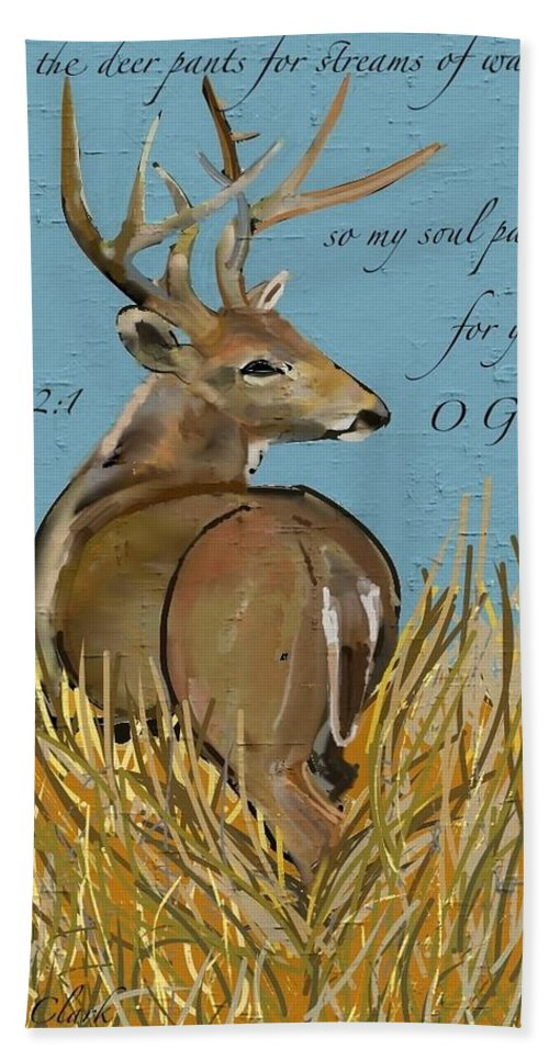 Deer Hand Towel featuring the painting As The Deer by Marie Clark