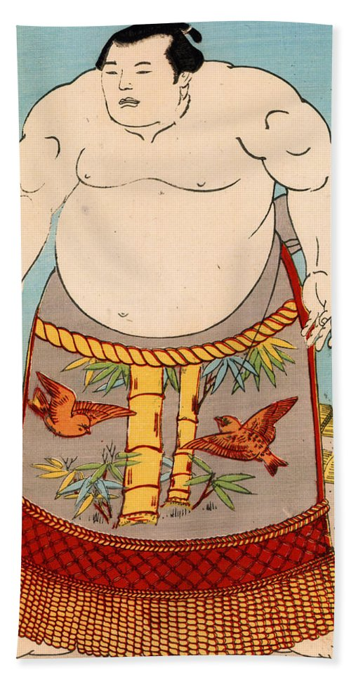 Sumo Hand Towel featuring the painting Asashio Toro A Japanese Sumo Wrestler by Japanese School