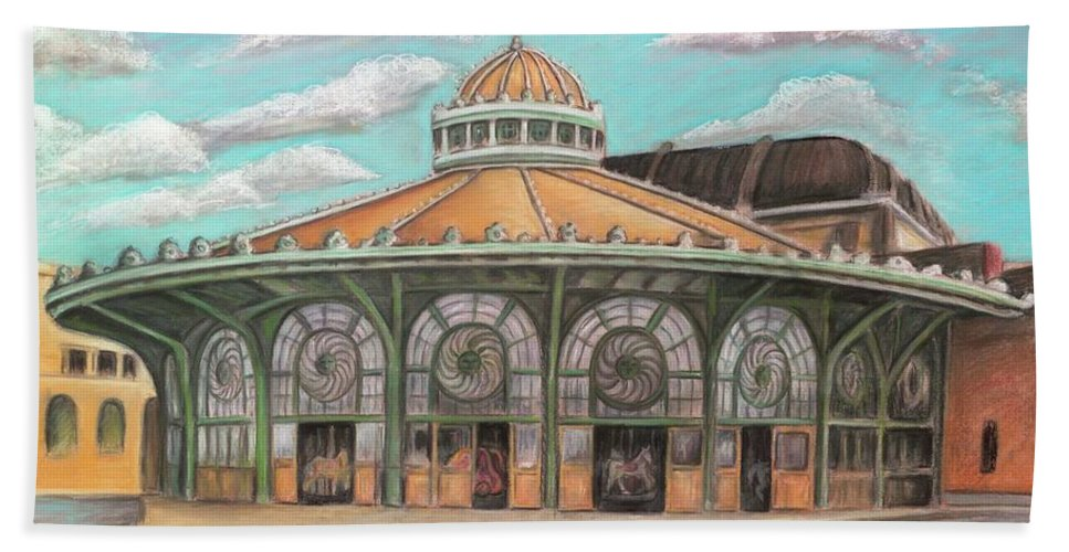 Carousel House Bath Towel featuring the painting Asbury Park Carousel House by Melinda Saminski
