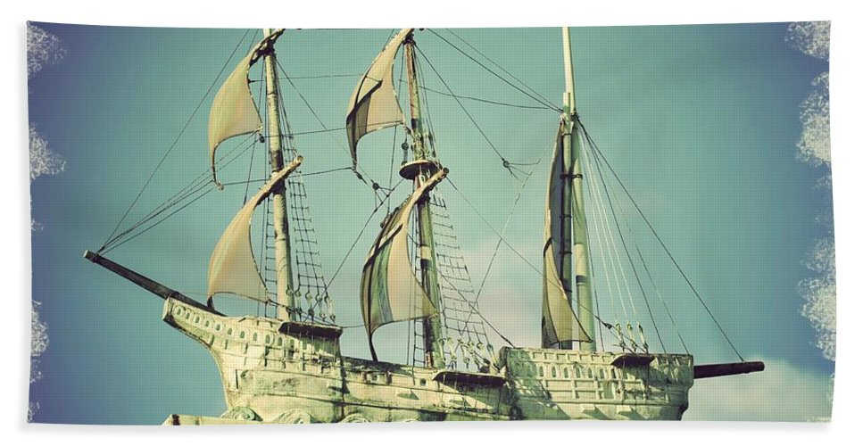 Asbury Park Convention Hall Ship Hand Towel featuring the photograph Asbury Park Convention Hall Ship by Terry DeLuco