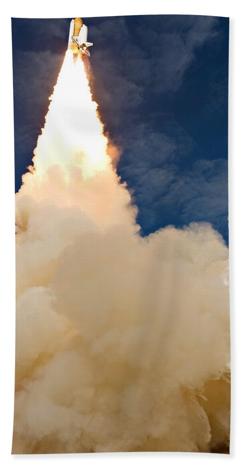 Space Bath Sheet featuring the photograph Ascending Atlantis by Ricky Barnard