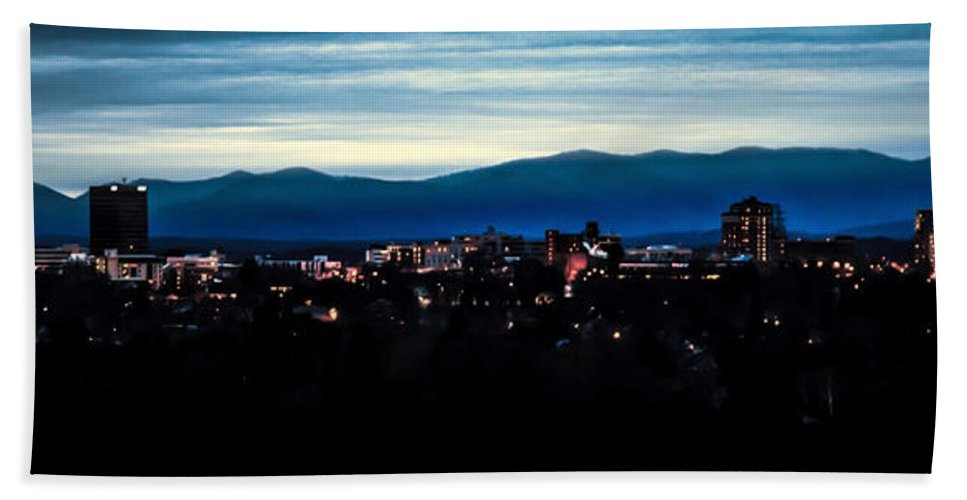Asheville Hand Towel featuring the photograph Asheville Skyline by Karen Wiles