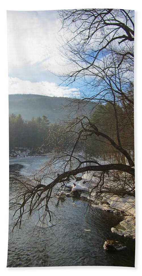 Ashuelot River Hand Towel featuring the photograph Ashuelot Sunrise by MTBobbins Photography
