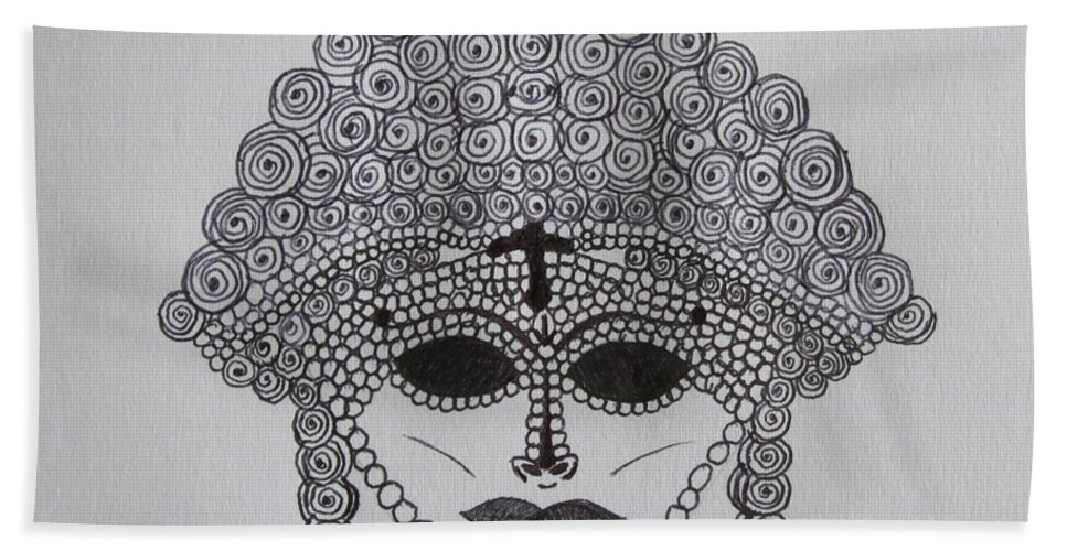 Masks Bath Sheet featuring the drawing Dark Ancient Eyes by Donna Wilson