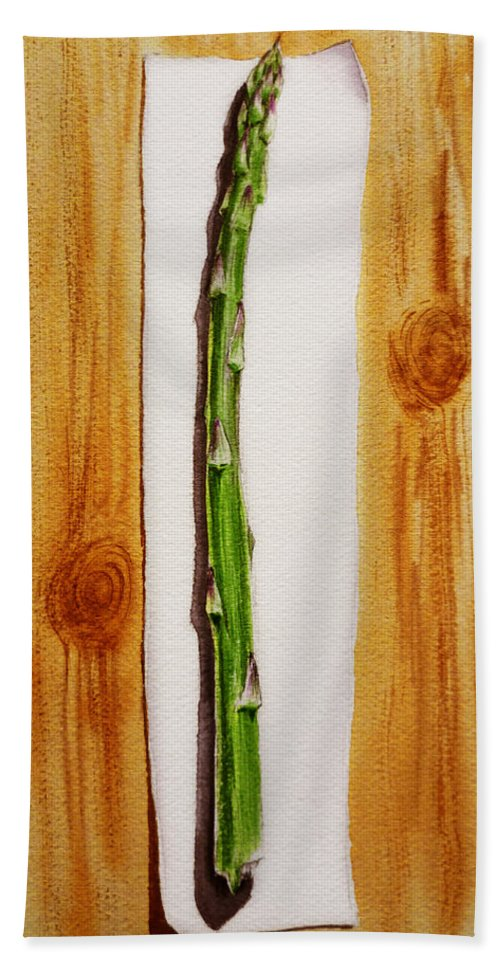 Asparagus Bath Sheet featuring the painting Asparagus Tasty Botanical Study by Irina Sztukowski