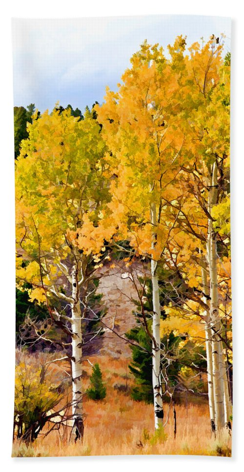 Aspen Tree Hand Towel featuring the photograph Aspen Meadows II by Athena Mckinzie
