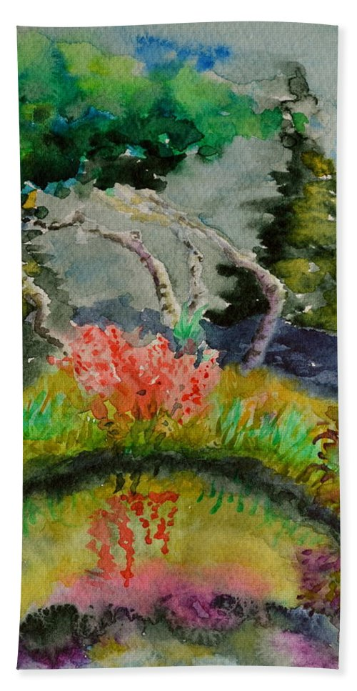 Aspens Bath Sheet featuring the painting Aspens On Acid by Beverley Harper Tinsley