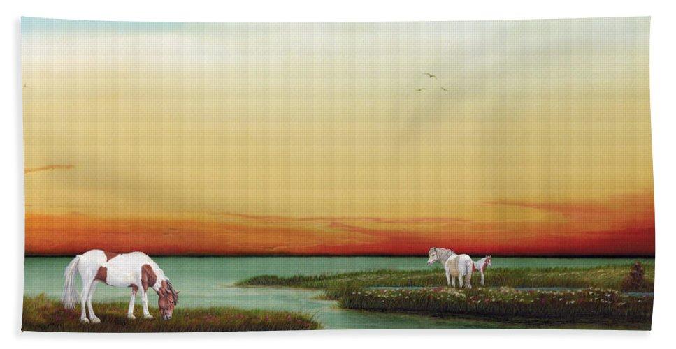 Assateague Wild Horses Hand Towel featuring the painting Assateague Island Sunset by Albert Puskaric