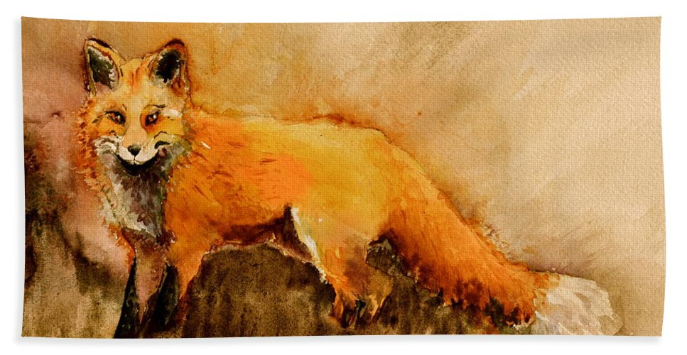 Fox Hand Towel featuring the painting Assessing The Situation Antiqued by Beverley Harper Tinsley