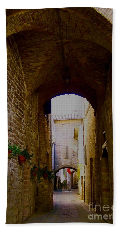 Assisi Bath Sheet featuring the photograph Assisi Walkway by Debby Pueschel