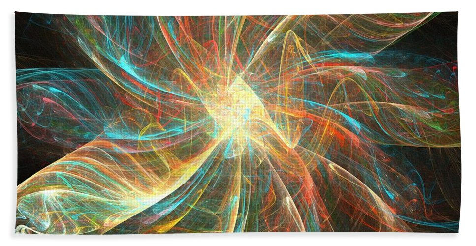 Apophysis Hand Towel featuring the digital art Astral Flower by Kim Sy Ok