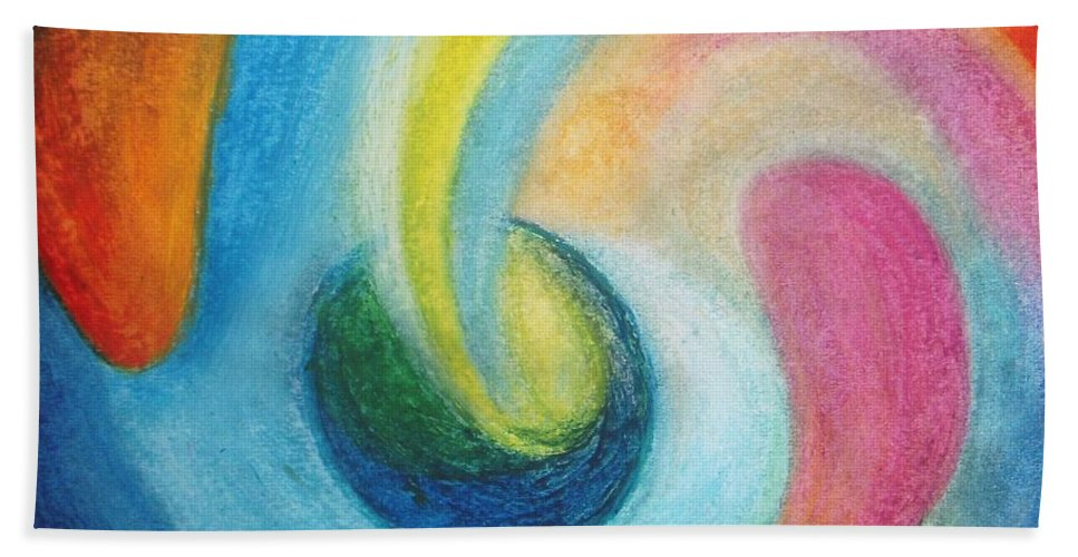 Earth Bath Sheet featuring the painting Astral Projection by Vesna Antic