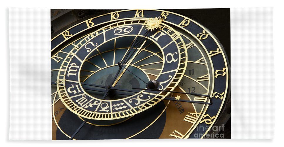 Clock Bath Sheet featuring the photograph Astronomical Clock by Ann Horn