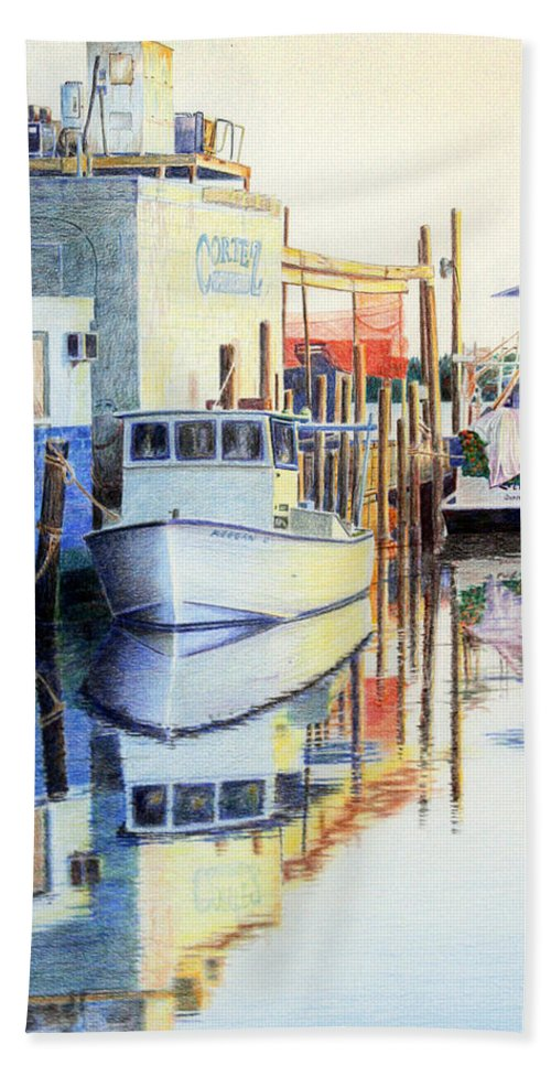 Seascape Bath Sheet featuring the painting At Cortez Docks by Roger Rockefeller