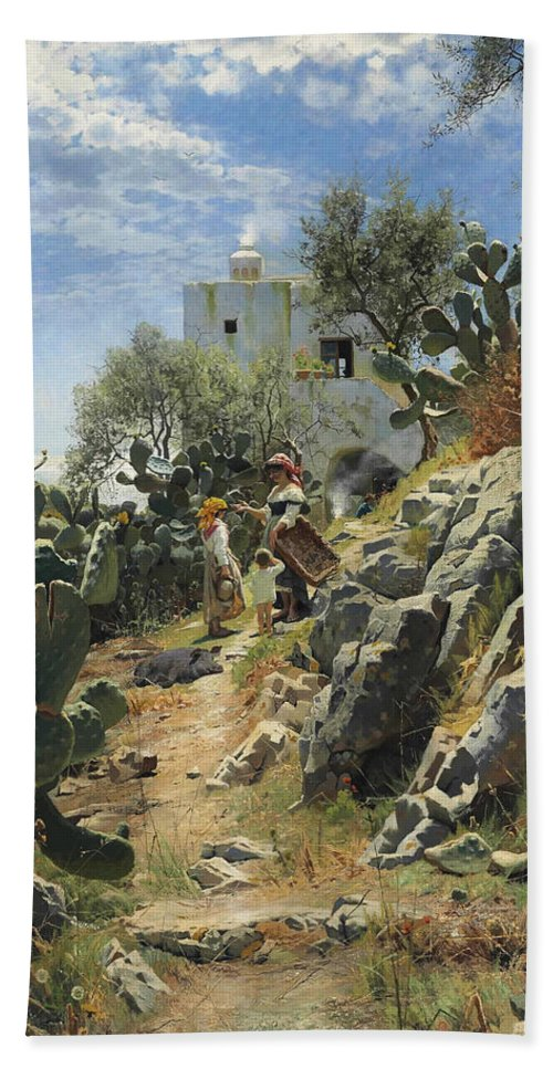 Peder Mork Monsted Hand Towel featuring the painting At Noon On A Cactus Plantation In Capri by Peder Mork Monsted
