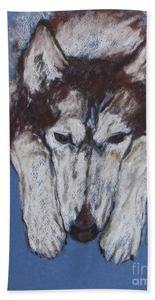 Siberian Husky Hand Towel featuring the drawing At Rest II by Cori Solomon
