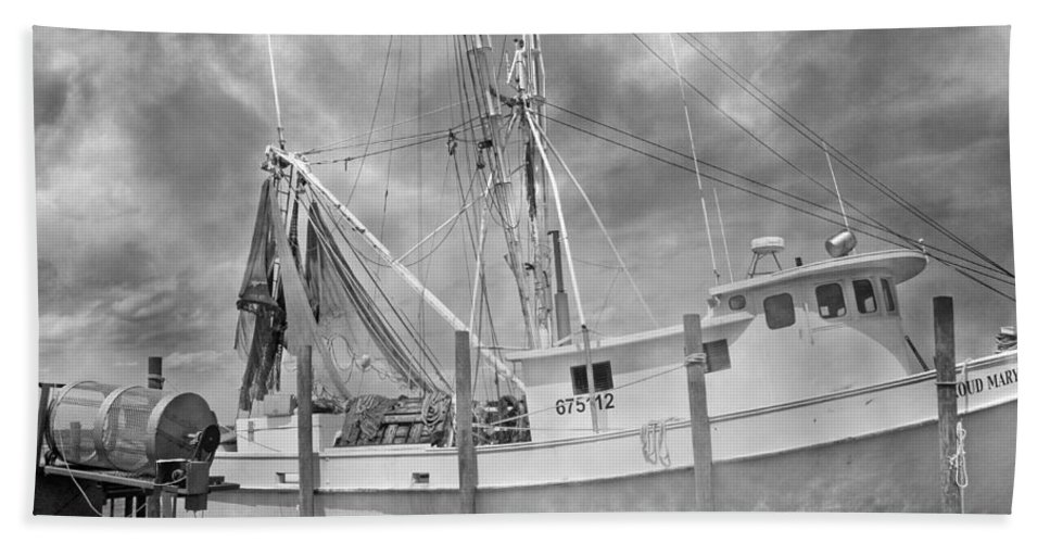 Ship Hand Towel featuring the photograph At Rest In The Harbor by Betsy Knapp