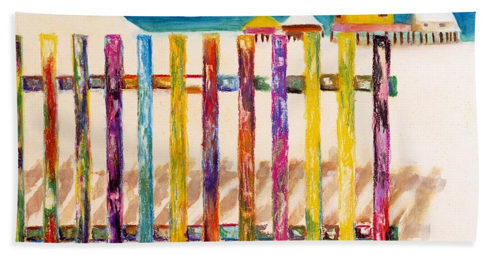 Beach Bath Towel featuring the painting At The Beach by Frances Marino