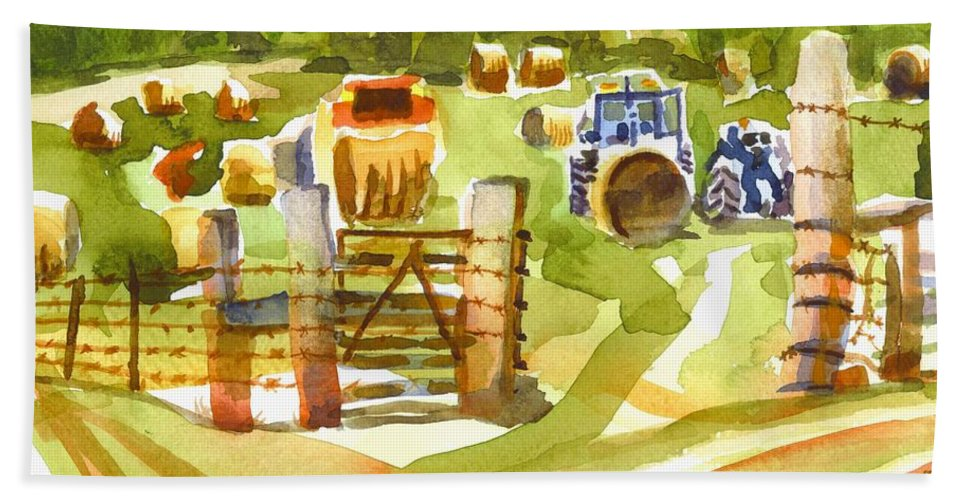 At The Farm Baling Hay Hand Towel featuring the painting At The Farm Baling Hay by Kip DeVore