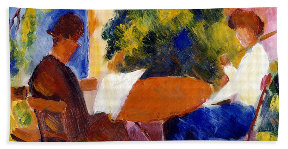At The Garden Table Bath Towel featuring the painting At The Garden Table by August Macke