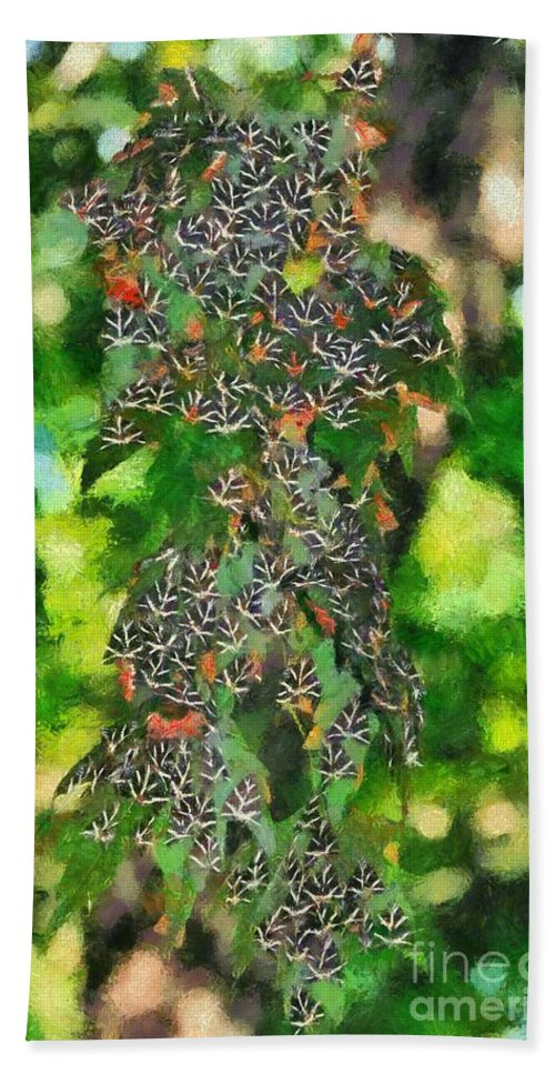 Rhodes Hand Towel featuring the painting At The Valley Of Butterflies In Rhodes Island by George Atsametakis