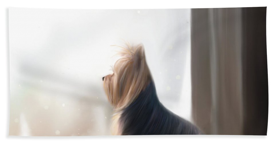 Yorkie Hand Towel featuring the mixed media At The Window by Catia Lee