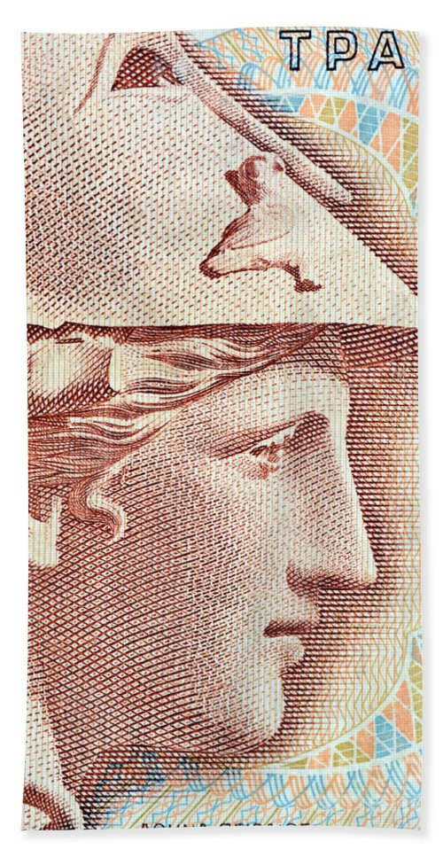 Athena Hand Towel featuring the photograph Athena On Banknote by Grigorios Moraitis
