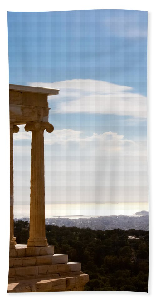 Athens Bath Sheet featuring the photograph Athens And The Sea From The Acropolis by Anthony Doudt